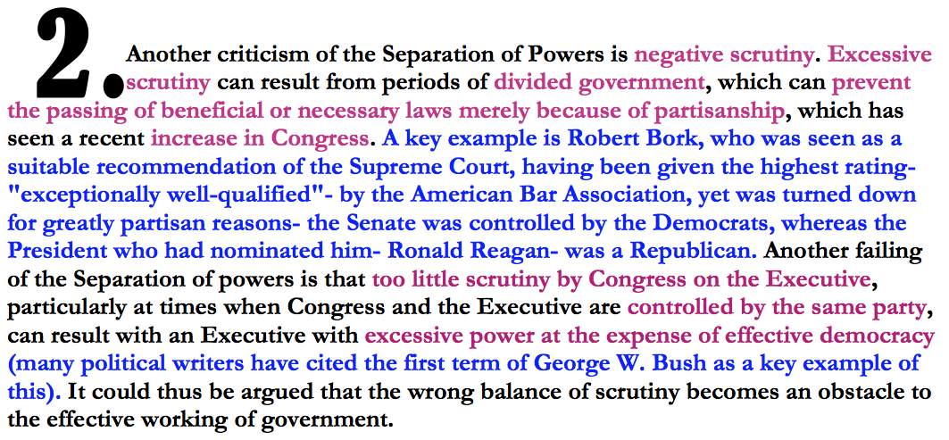 an analysis of the separation of powers and the system of checks and balances There is no absolute doctrine of separation of powers in the separation of powers is an idea where checks and balances system of checks and balances.